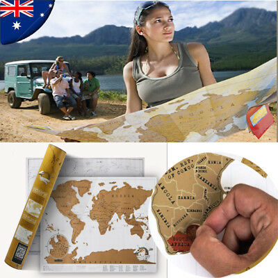 New Scratch Off Map World Deluxe Large Personalized Travel Poster Travel Atlas