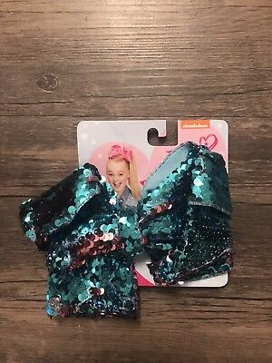 Nickelodeon Jojo Siwa Turquoise & Pink Reversible Sequin Large Hair Bow Clip NWT