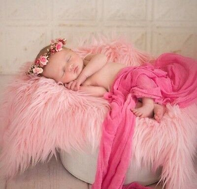 """Baby Pink, Faux Fur, Mongolian, Newborn Photography's props 18""""x 20"""" Inches"""