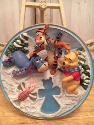 "Disney Winnie the Pooh 3D Plate Bradford Exchange ""Angels of a Frosty Sort."""