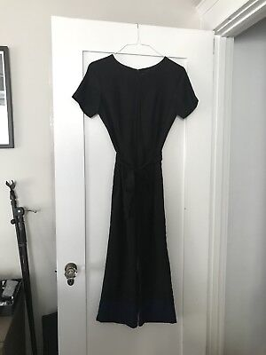 Staud Black And Blue Cropped Jumpsuit with belt tie Size 4 Small totokaelo
