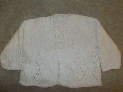 Hand knitted White Baby Jumper