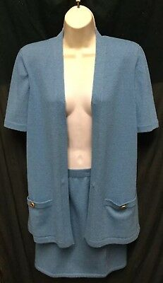 VINTAGE ST JOHN COLLECTION by MARIE GRAY BLUE KNIT SKIRT & SHORT SLEEVE TOP SZ 4