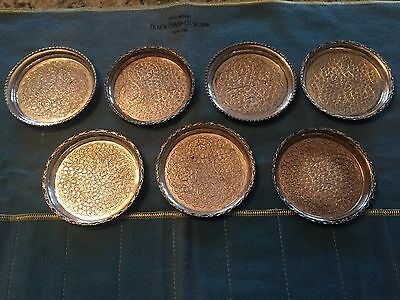 Antique Indian Pakistan Islamic Pak94 Sil Silver Chased Dish Coasters