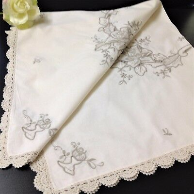 Hand Embroidered Ecru Square Table Topper Table Cloth - 80x80cm - Crochet Edge
