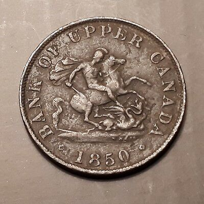 1850 Bank of Upper Canada One Half - Penny Bank Token (167 Years Old)