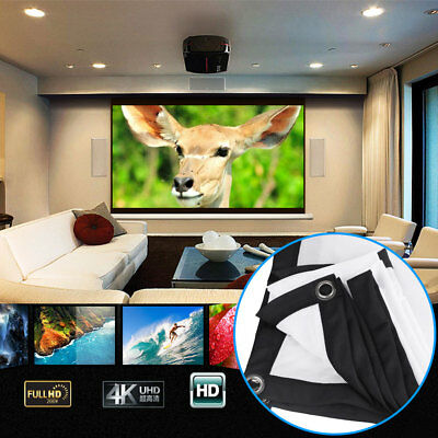 Home Cinema Church Projector Curtain Projection Screen Portable 84 Inch