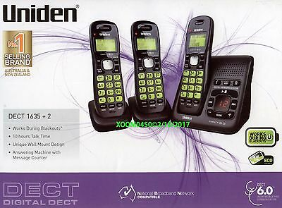 Uniden Dect 1635 +2 Cordless Phone 3 Handests With Ans Works In Blackouts New