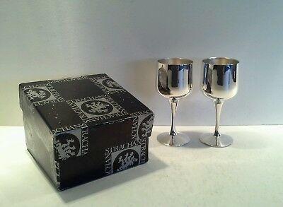 2 Small Vintage Strachan Silverplate Liqueur/Sherry Goblets with Gift Box