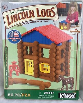 Lincoln Logs Wrangler Ranch 86 pcs Wood Logs Knex Hasbro Preschool