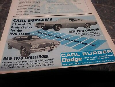 dodge ad charger challenger rt rare 1970 70 vintage poster photo 440 426 hemi