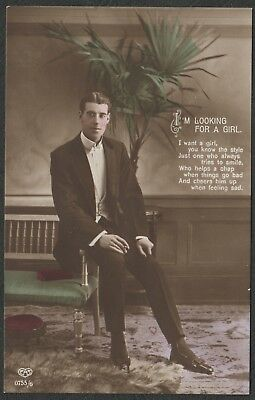 e888) Vintage E.A. Schwerdtfeger Real Photo Postcard 1910s Greetings - Young Man