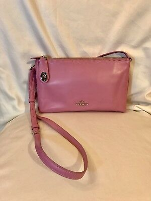 Light Pink And Silver Leather Coach Purse, Crossbody, Clutch, Exc Cond-Free Ship