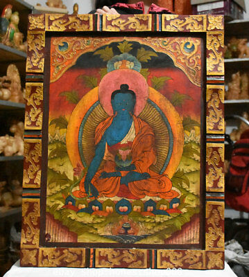 "27"" Old Tibet Wood Painted Menla Medicine Buddha Medical God Wall Hang Thangka"