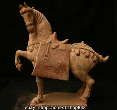 "15"" Old Chinese Tang San Cai Pottery Porcelain Dynasty Tang Horse Sculpture"