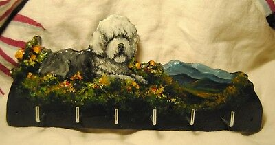 Original Painting~Old English SheepDog~Hook~Key~Leash Holder~Whimsical~Art~SALE!
