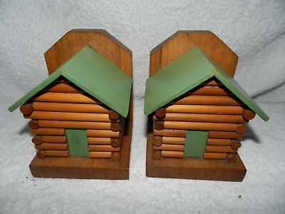 bookends old collectable tinber log cabin