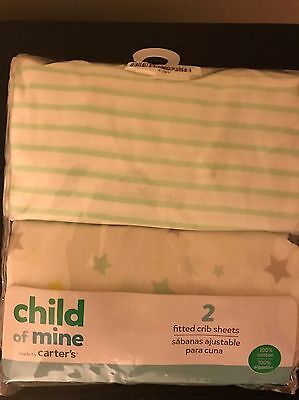 Carter's Child of Mine Set of 2 Fitted Crib Sheets 100% Cotton Star and Stripe