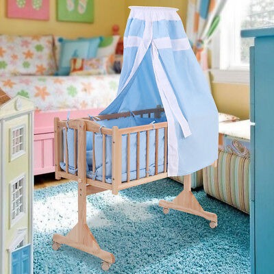 Pine Wood Baby Toddler Bed Convertible Nursery Infant Newborn W/Canopy Blue