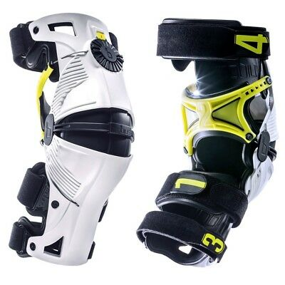 Mx Knee Braces >> Mobius New Mx X8 Kneebraces Pair White Yellow Motocross Dirt
