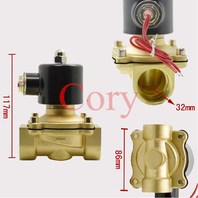 DC 12V Air Gas Pneumatic Electric Solenoid Valve 2-way 32mm Thread Normal Closed