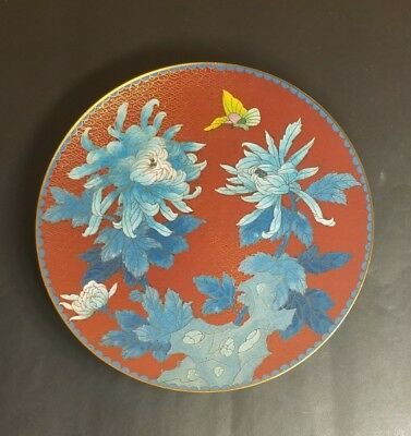 Antique or Vintage Chinese Cloisonne Floral Plate