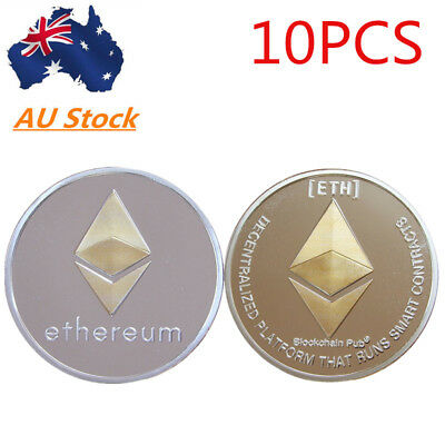 10X Ethereum Crypto Collectible Coin Silver Gold Plated Commemorative Xmas Gift