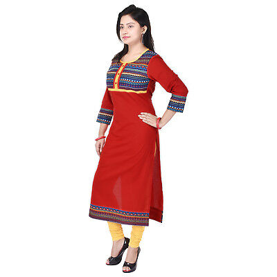 Red Cotton Kurta Indian Pakistani Long Straight Kurti Dress Women Top Tunic
