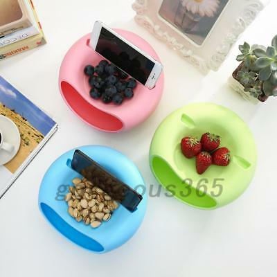 Double-Layer Snacks Fruit Plate Bowl Dish Phone Holder for TV Lazy Tool Useful