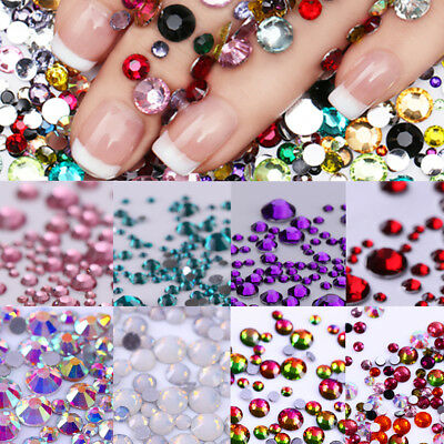 3D Nail Art Rhinestones Studs Glitter Resin Flat Bottom Nail Decoration Manicure