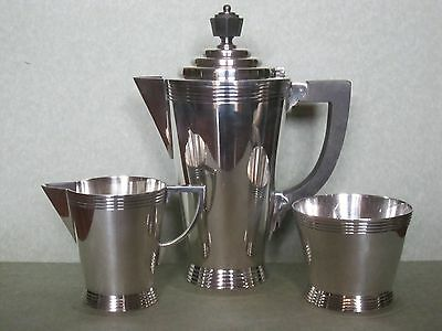 Coffee service, Athenian pattern, silver plate by Walker and Hall, London