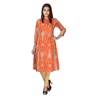 Orange Long Cotton Kurta Indian Pakistani A-Line Kurti Dress Women Top Tunic