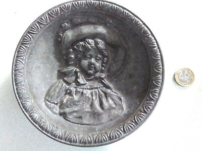 Signed round pewter dish