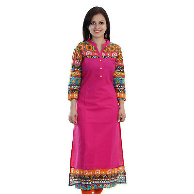 S to 5XL Cotton Kurta Indian Pakistani Long Straight Kurti Dress Women Top Tunic