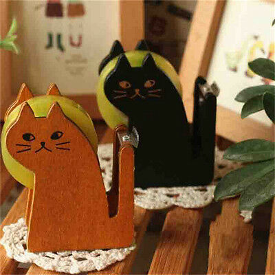 1x Funny Cat Shape Wooden Tape Dispenser Tape Cutter Office School Supplies TH