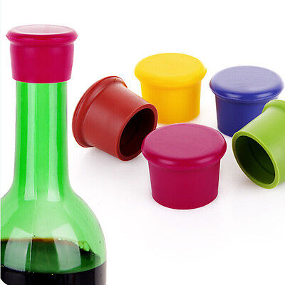 2/5x Reusable Silicone Wine Beer Top Bottle Cap Stopper Drink Saver Sealer TH
