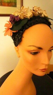 1950,s gorgeous vintage black Italian glace straw bandeau with fabric flowers.