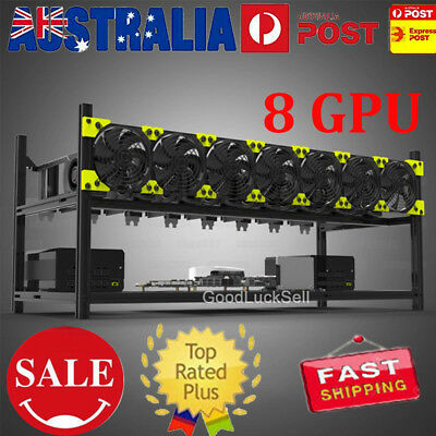 8GPU Aluminum Stackable Open Air Mining Case Computer Frame Rig Bitcoin Ethereum