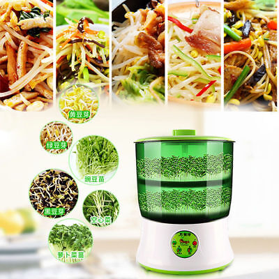 2-Layer 110V 20W Automatic Homemade Multifunctional Bean Seed Sprouts Machine CA