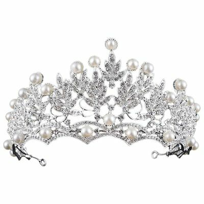 Princess Bridal Wedding Prom Headband Crystal Rhinestone Pearl Tiara Crown E8A5