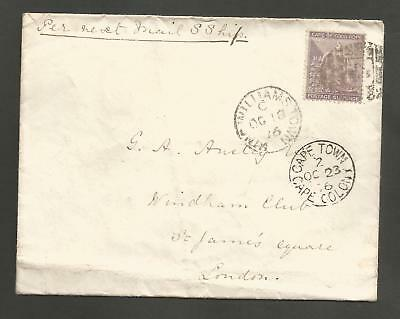 CAPE OF GOOD HOPE , 6d ON 1876 KING WILLIAMS TOWN TO LONDON COVER