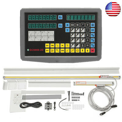 2 Axis Digital Readout TTL Linear Scale For Electronic Milling Lathe Machine Set