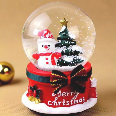 LED light Christmas tree Snow Globe Xmas Crystal Water Ball Santa claus gift box