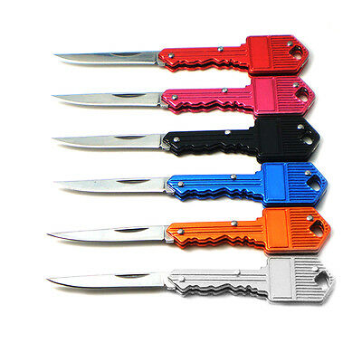 Stainless Folding Pocket Key Shape Mini Knife Outdoor Hunting Camping Blade