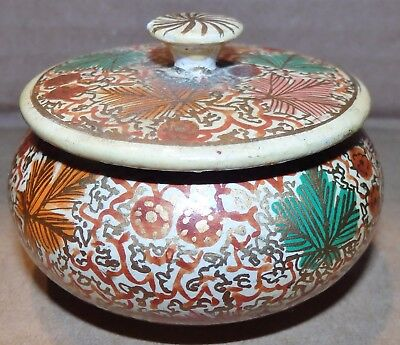 Lovely Indian  Lacquered Papier Machie Small Lidded Round Trinket Pot (O/s4)