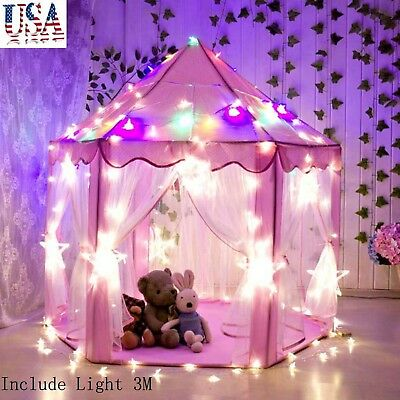 US In/Outdoor Children Kids Girls Princess Castle Play Tent Play House + Lights