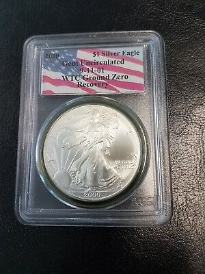 2000 Silver Eagle PCGS Gem Uncirculated WTC Ground Zero Recovery Coin