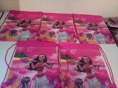 5 Pink Moana - Drawstring Bags - All Brand New &+ Free Postage
