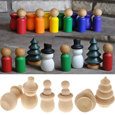 Blesiya 30pcs Unfinished Wooden DIY Snowman Tree Peg Doll Party Cake Toppers