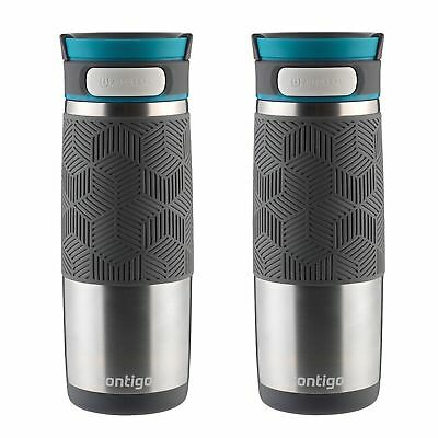 Contigo AUTOSEAL Transit Travel Mug 16oz Stainless w/ Blue Lid Thermos (2-Pack)